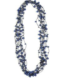 Jianhui Multi Strand Faux Pearl Ribbon Necklace - Blue