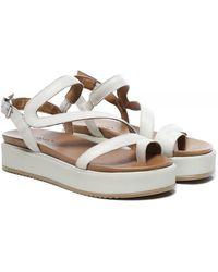 Inuovo Leather Toe Post Flatform Sandals - Blanc