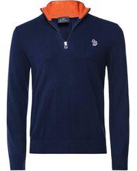 Paul Smith Cotton Wool Half-Zip Zebra Jumper - Bleu