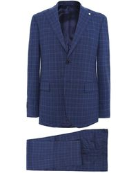 L.B.M. 1911 Wool Prince Of Wales Check Suit - Blue