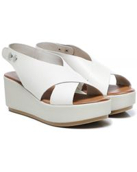 Inuovo Leather Slingback Wedge Sandals - White