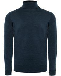 John Smedley Merino Wool Roll Neck Cherwell Jumper - Bleu