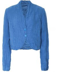 Grizas Cropped Linen Jacket - Blue