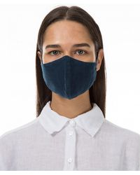 Grizas Pack Of 3 Plain Linen Protective Face Masks - Blue