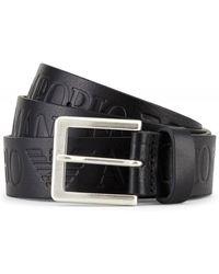 Armani - Leather Logo Tongue Belt - Lyst