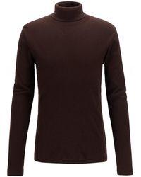 BOSS by Hugo Boss Slim Fit Cotton Roll Neck Tenore 06 Sweater - Marron
