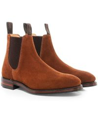 Loake Suede Chatsworth Chelsea Boots - Marron