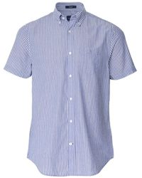 GANT Regular Fit Short Sleeve Striped Seersucker Shirt - Bleu