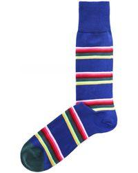 Paul Smith Lion Stripe Socks - Bleu