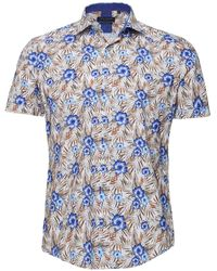 Guide London Short Sleeve Vibrant Floral Shirt - Marron