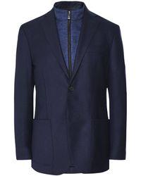 Corneliani Textured Wool Blend Removable Bib Jacket - Bleu