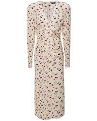 ROTATE BIRGER CHRISTENSEN Heather Raspberry Print Midi Dress - Rose