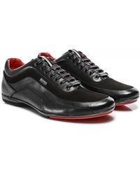 BOSS by Hugo Boss Nappa Leather HB Racing 1 Trainers - Noir
