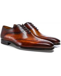 Magnanni Hand-Painted Leather Wing-Tip Oxford Shoes - Marron