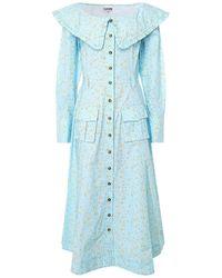 Ganni Printed Cotton Poplin Dress - Bleu