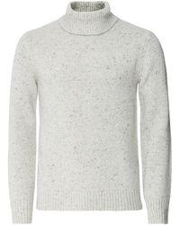 Hartford Wool Alpaca Donegal Roll Neck Jumper - Blanc