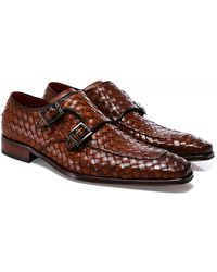 Jeffery West Woven Leather Scarface Monk Shoes - Brown