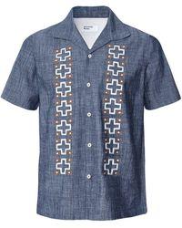 Universal Works Slim Fit Chambray Open Collar Shirt - Bleu