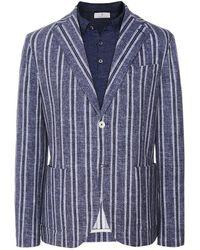 Circolo 1901 Stretch Cotton Striped Print Jacket - Bleu