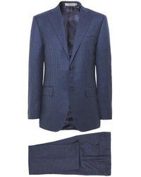 Corneliani Virgin Wool Houndstooth Suit - Blue