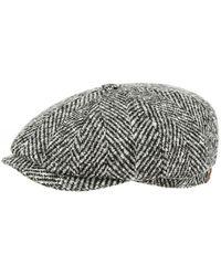 Stetson Virgin Wool Herringbone Hatteras Cap - Noir