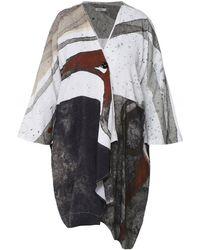 Crea Concept Linen Blend Draped Jacket - Multicolour