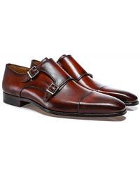 Magnanni Leather Double Monk Siros Shoes - Brown