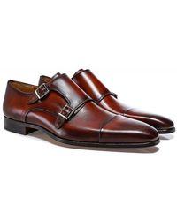 Magnanni Leather Double Monk Siros Shoes - Marron