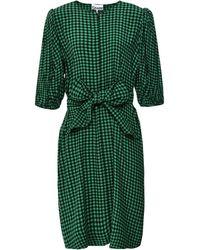 Ganni Gingham Crepe Tie Waist Dress - Vert