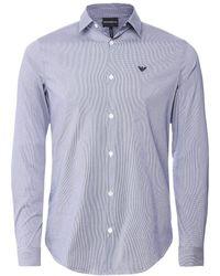 Armani Stretch Cotton Poplin Check Shirt - Bleu