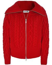 Self-Portrait - Cable-knit Cotton And Wool-blend Cardigan - Lyst