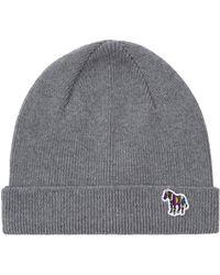 Paul Smith Lambswool Zebra Beanie Hat - Gris