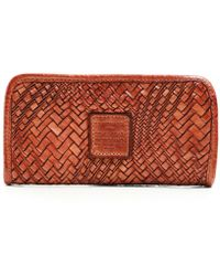 Campomaggi Woven Leather Zip Around Purse - Pink