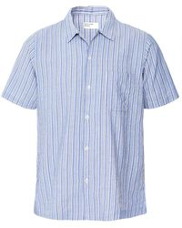 Universal Works Linen Blend Elton Striped Road Shirt - Bleu