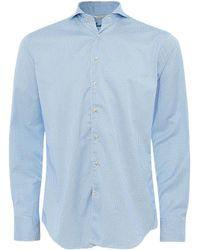 Stenströms Fitted Body Houndstooth Shirt - Bleu