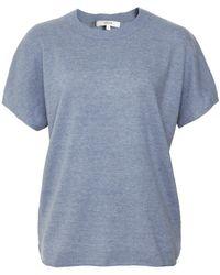 Vince Cashmere Linen Popover Knit - Bleu