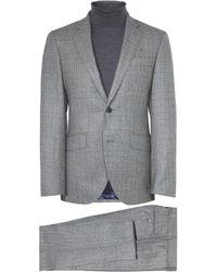 Hackett Wool Saxony Glen Check Suit - Gray