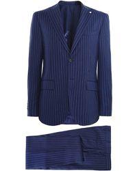 L.B.M. 1911 Wool Pinstripe Suit - Bleu