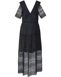 Self-Portrait Spiral Panel Lace Midi Dress - Noir