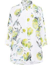 Grizas Linen Floral Shirt - Blanc
