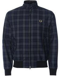 Fred Perry Wool Blend Check Harrington Jacket J1534 608 - Bleu