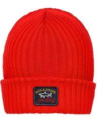 Paul & Shark Virgin Wool Ribbed Beanie - Rouge