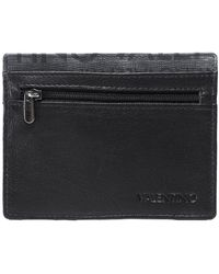 Valentino By Mario Valentino Faux Leather Folded Byron Card Holder - Black