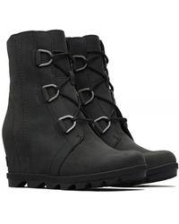 Sorel Nubuck Leather Joan Of Arctic Wedge Boots - Black