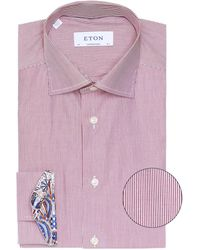 Eton of Sweden Contemporary Fit Striped Poplin Shirt - Rouge