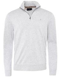 Hackett Cotton Silk Half-zip Jumper - Grey