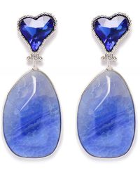 Uzurii Stone Drop Heart Earrings - Bleu