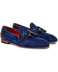 Jeffery West Suede Mock Croc Martini Tassel Loafers - Blue