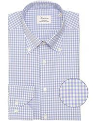 Stenströms Fitted Body Gingham Shirt - Bleu