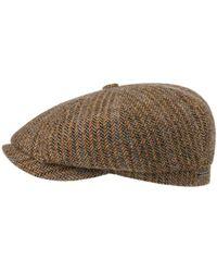 Stetson Virgin Wool Herringbone Hatteras Cap - Marron